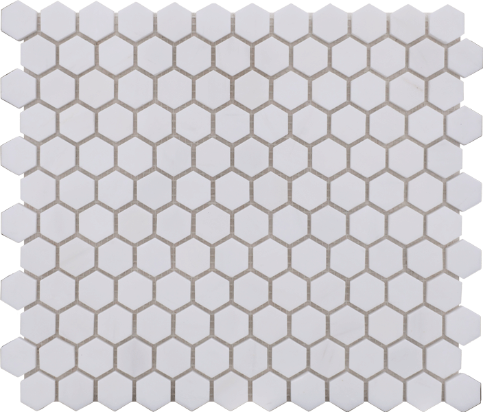 GLACIER WHITE POLISHED 1x1 HEX MOSAIC