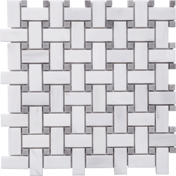 GLACIER WHITE POLISHED BASKETWEAVE MOSAIC