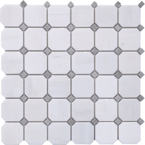 GLACIER WHITE POLISHED OCTAGON MOSAIC