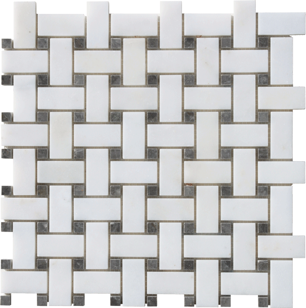 AFYON WHITE HONED BASKETWEAVE MOSAIC