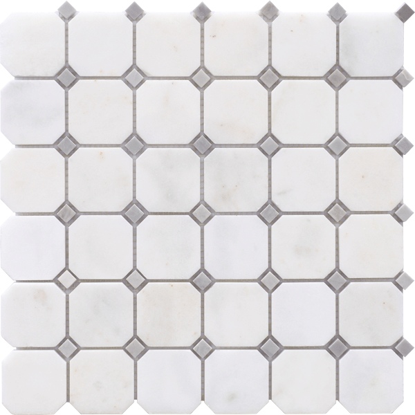 AFYON WHITE HONED OCTAGON MOSAIC